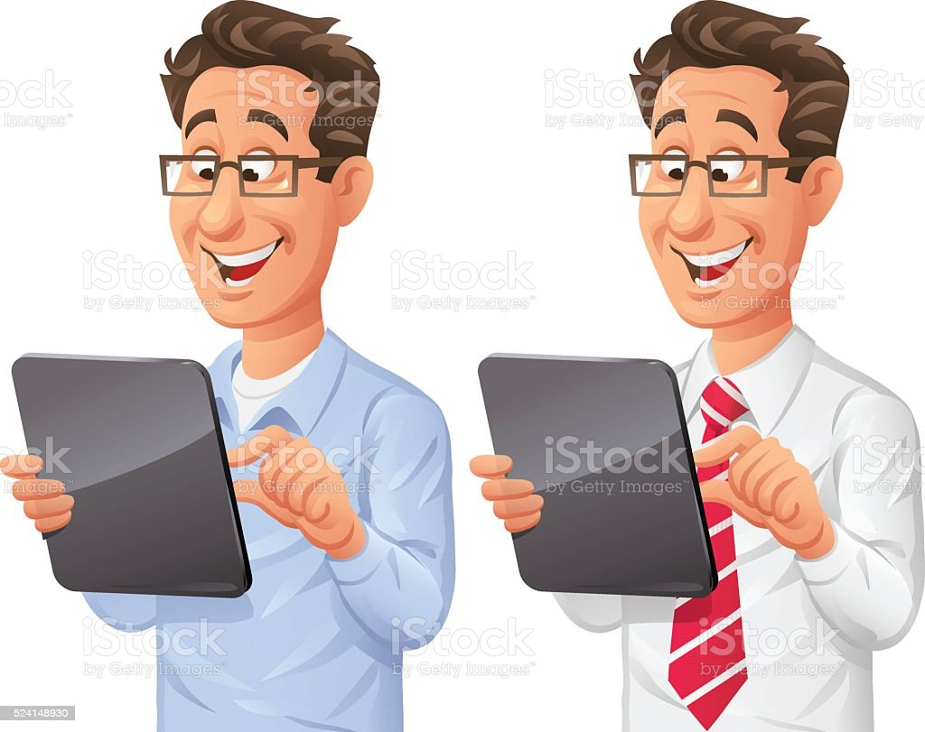 Man Using Digital Tablet vector art illustration