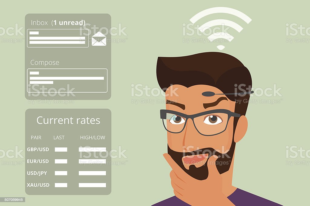 Man using head-mounted hardware technologies vector art illustration