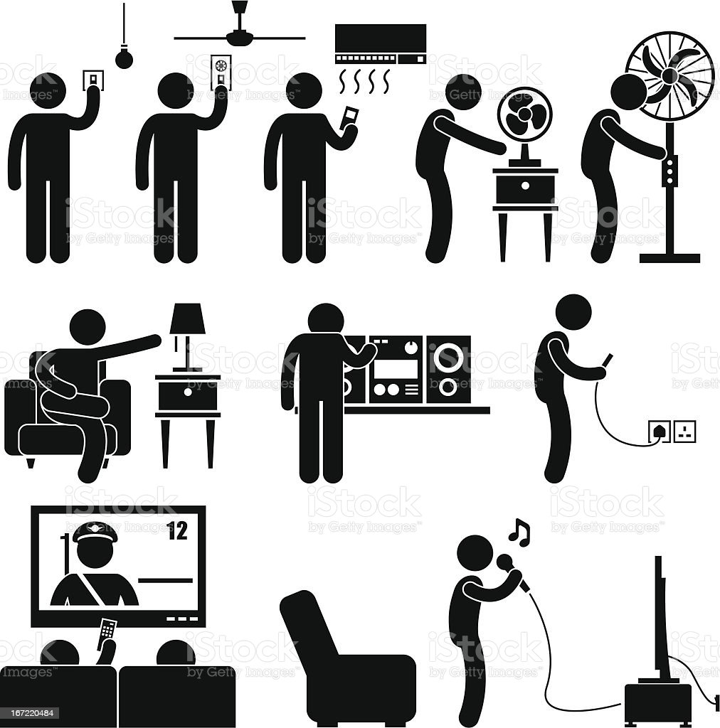 Man Using Home Appliances Equipment Pictogram royalty-free stock vector art