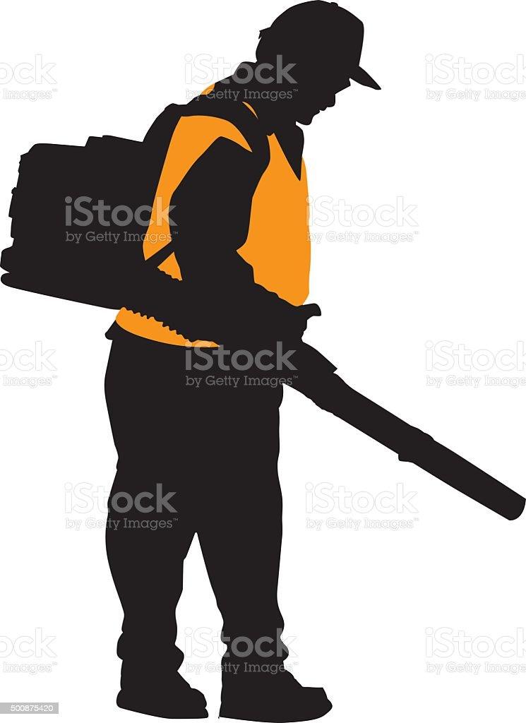 Man Using Leaf Blower Silhouette vector art illustration