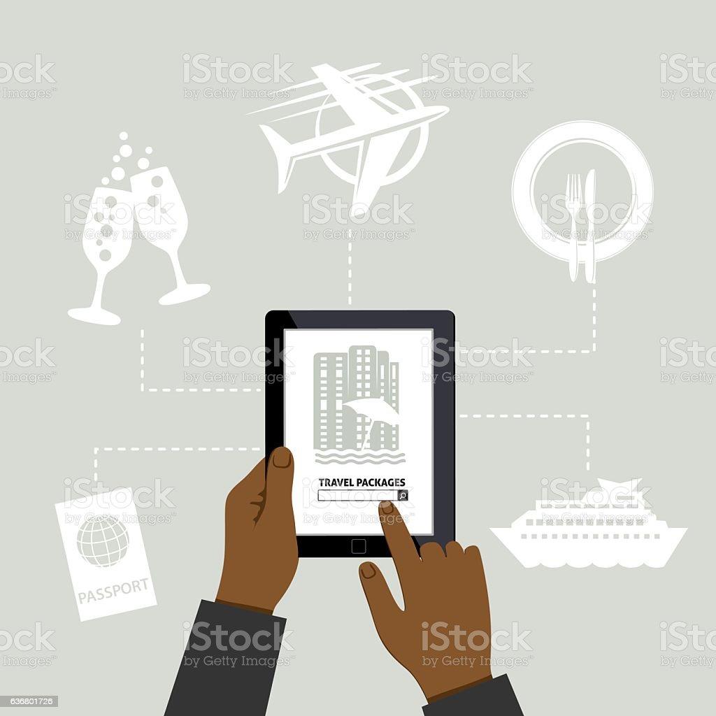 Man Using Online Apps For Wedding Arrangements vector art illustration
