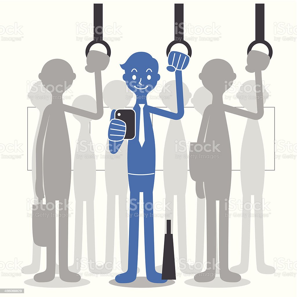 Man using smartphones on the train vector art illustration