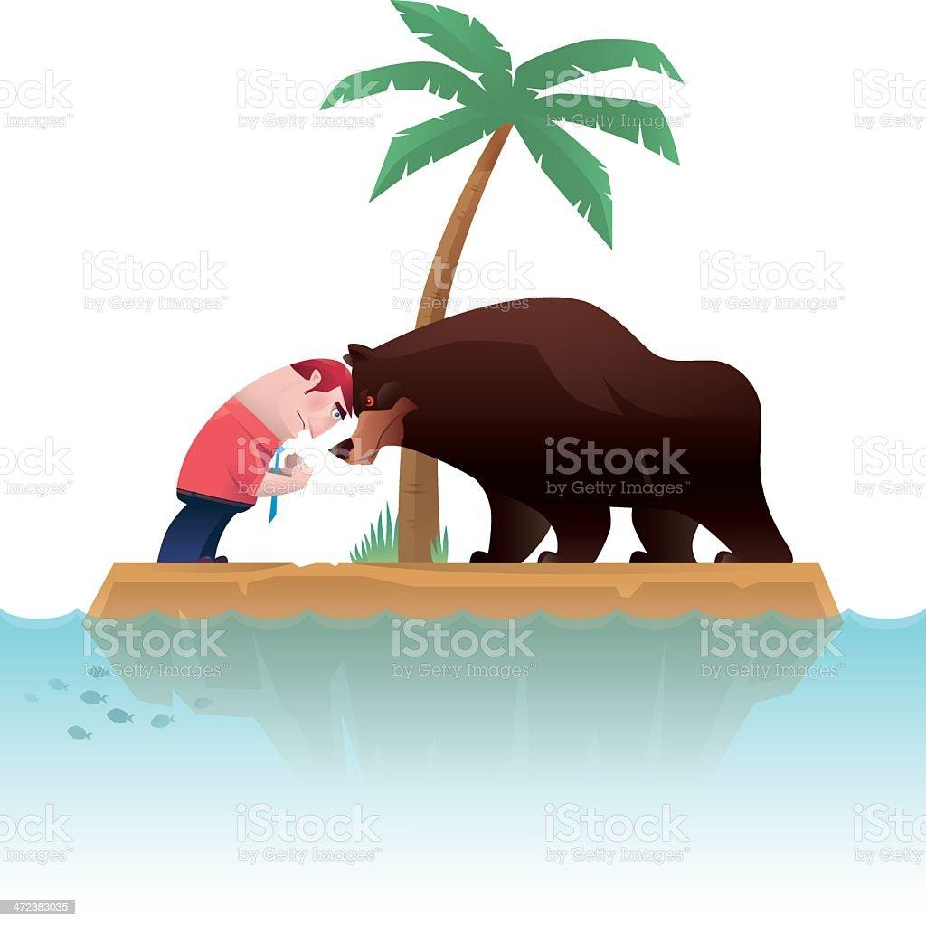 man versus bear royalty-free stock vector art