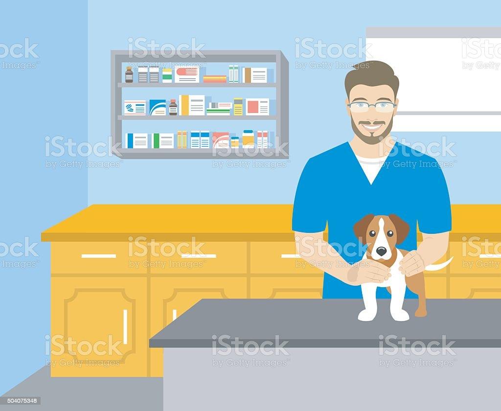 Man veterinarian holding a dog in veterinary office vector art illustration