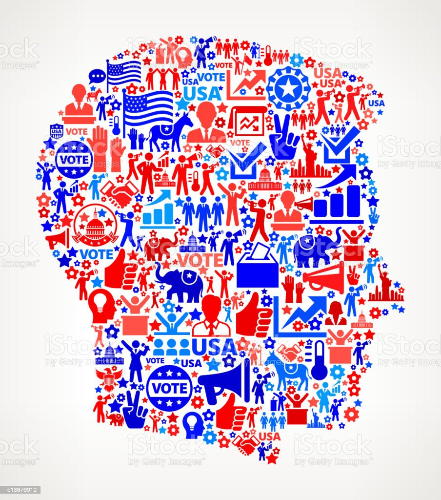 Man Vote and Elections USA Patriotic Icon Pattern vector art illustration