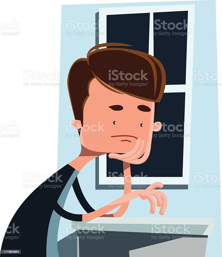 Man waiting next to a window vector illustration cartoon character vector art illustration