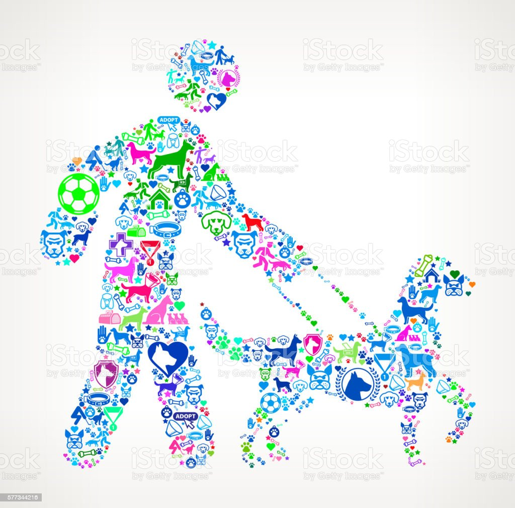man Walking Dog Dog and Canine Pet Colorful Icon Pattern vector art illustration
