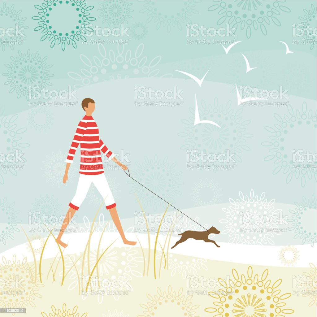 Man walking his dog on the beach royalty-free stock vector art