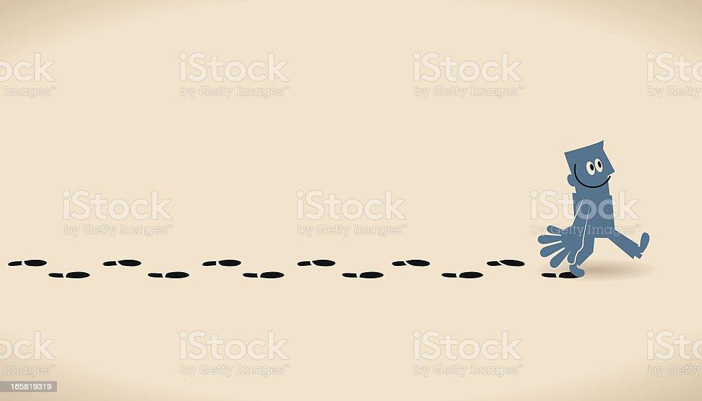 Man Walking Leaving Footprints. vector art illustration