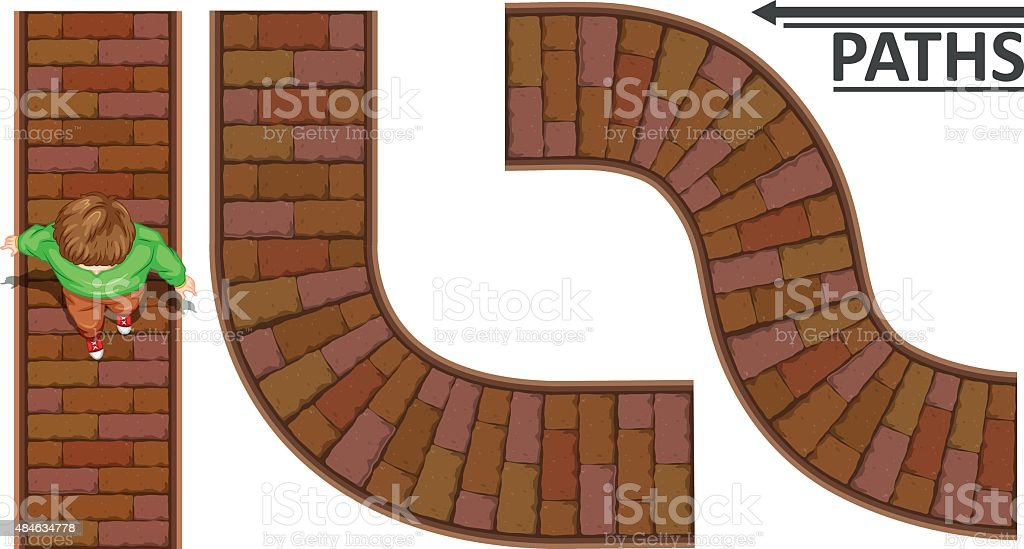 Man walking on brick path vector art illustration