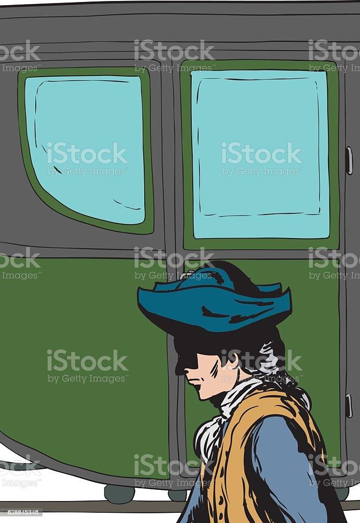 Man walking past fancy buggy vector art illustration