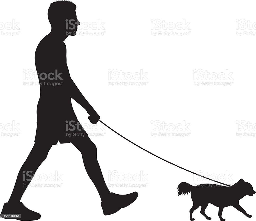Man Walking Small Dog Silhouette vector art illustration