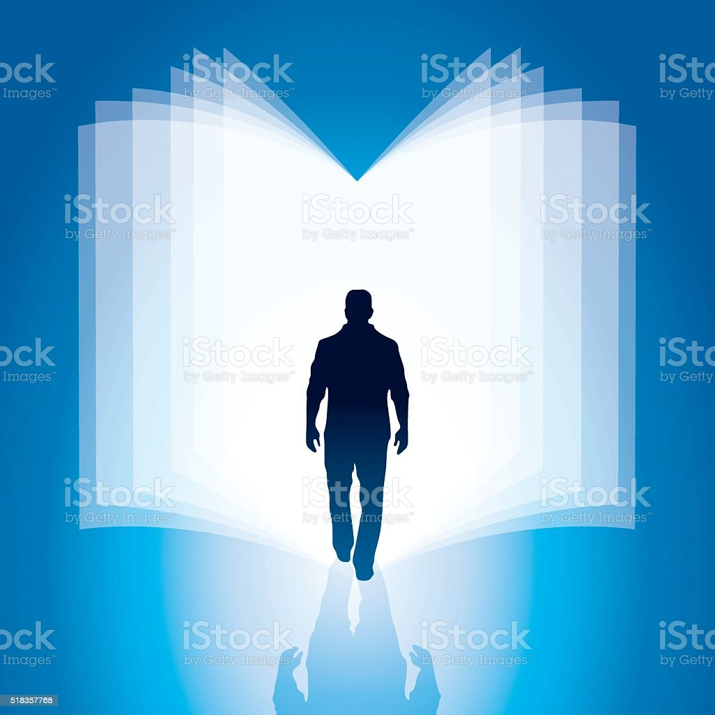 Man walking through the bright book vector art illustration