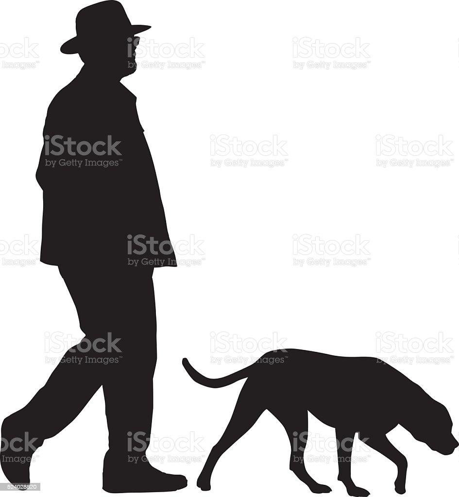 Man Walking With His Dog vector art illustration