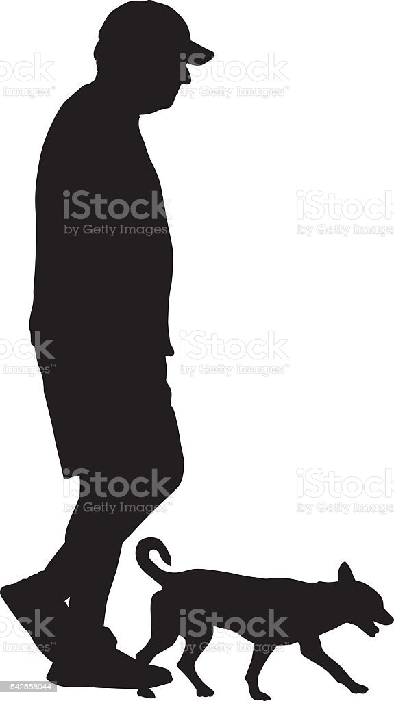Man Walking With Small Dog vector art illustration