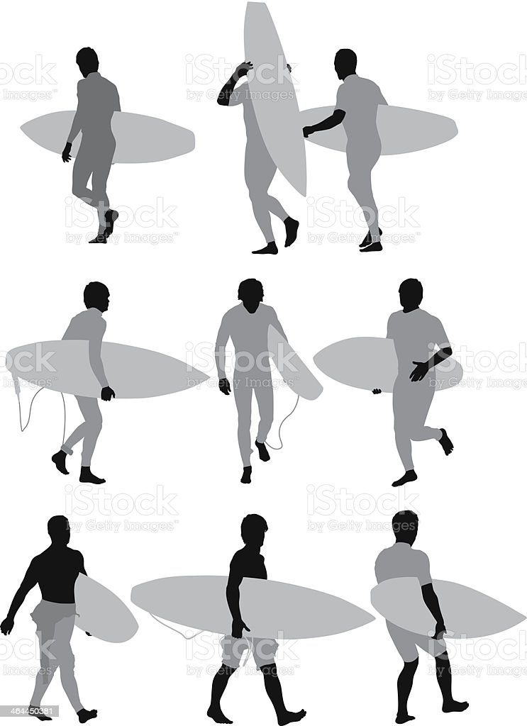 Man walking with surfboard royalty-free stock vector art