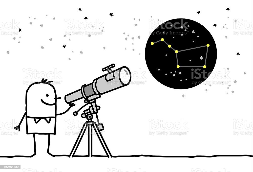 man watching constellation with telescope royalty-free stock photo