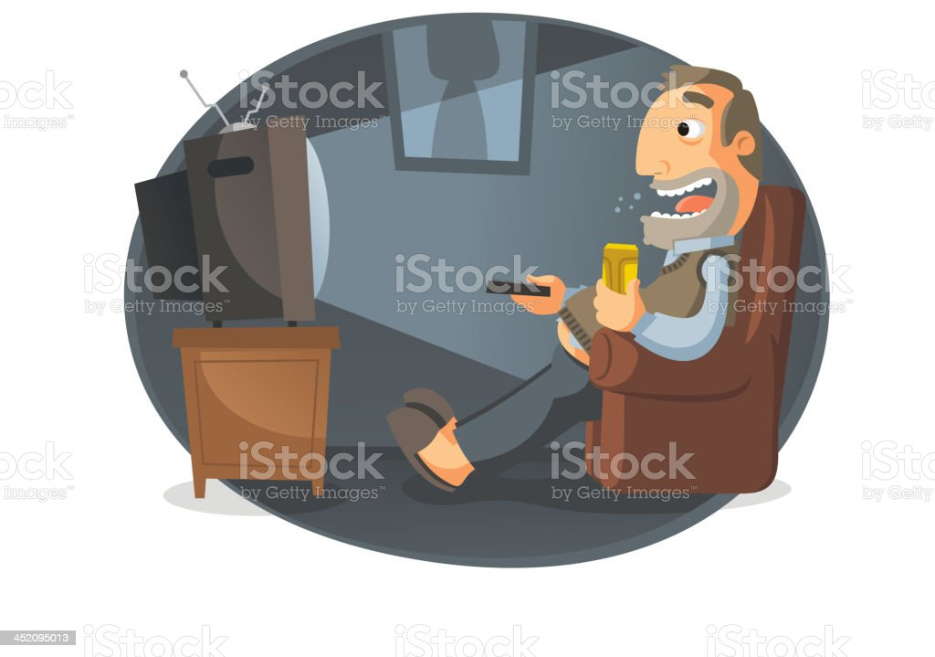 Man watching TV and drinking beer royalty-free stock vector art