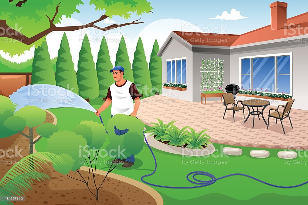 Man watering his grass and garden vector art illustration