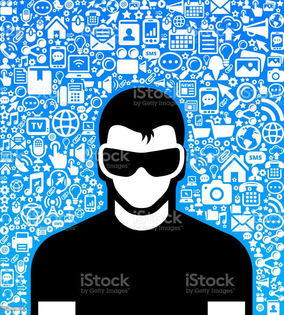 Man Wearing 3D Glasses and Virtual Reality Experience Icon Set vector art illustration