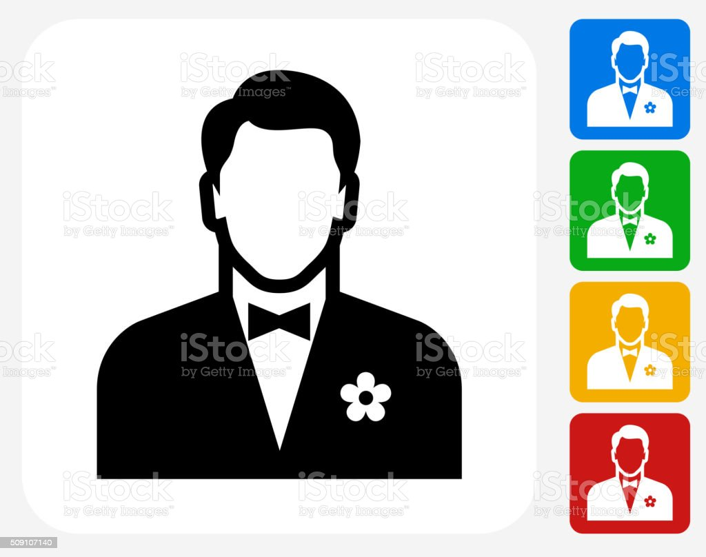 Man Wearing a Bow Tie Icon Flat Graphic Design vector art illustration