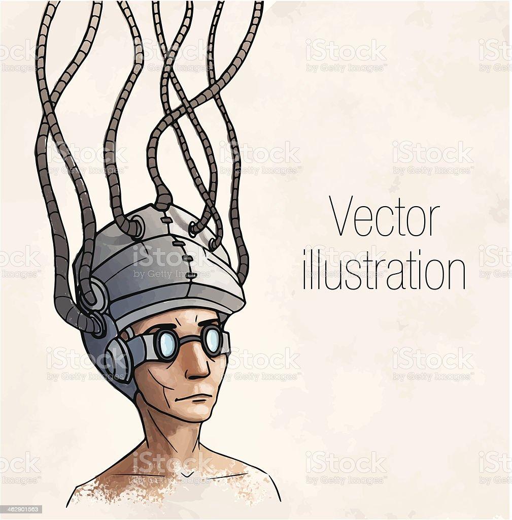 Man wearing a brain-control helmet. Digital addiction. Vector illustration royalty-free stock vector art