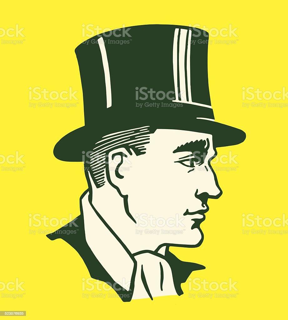Man Wearing a Top Hat vector art illustration