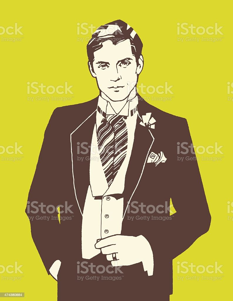Man Wearing Ascot Tie vector art illustration