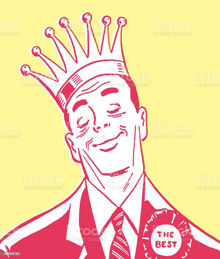 Man Wearing Crown and Ribbon vector art illustration