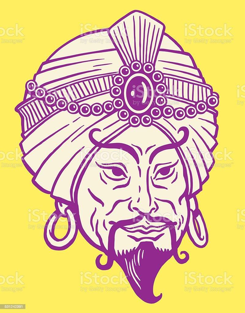 Man Wearing Jeweled Turban vector art illustration