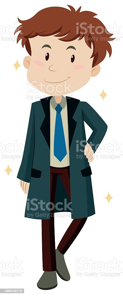 Man wearing new overcoat vector art illustration
