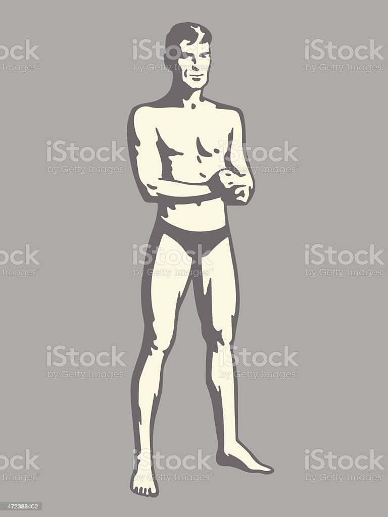 Man Wearing Small Swim Suit vector art illustration
