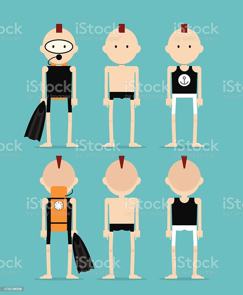 Man wearing three different styles in the summer vector art illustration