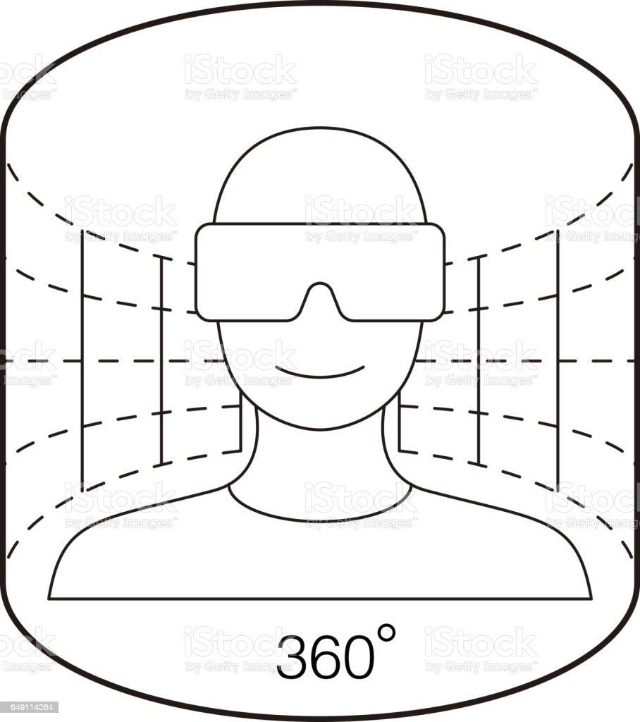 man wearing Virtual reality glasses. virtual screen, playing games vector art illustration