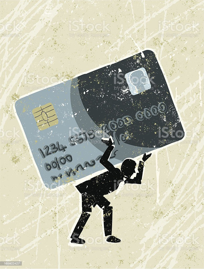 Man Weighed Down by Credit Card Debt royalty-free stock vector art