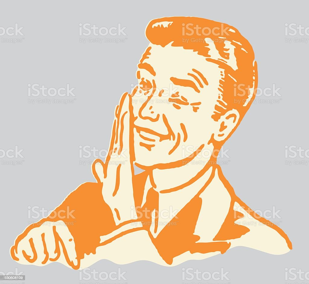 Man Whispering Behind Hand and Pointing Down vector art illustration