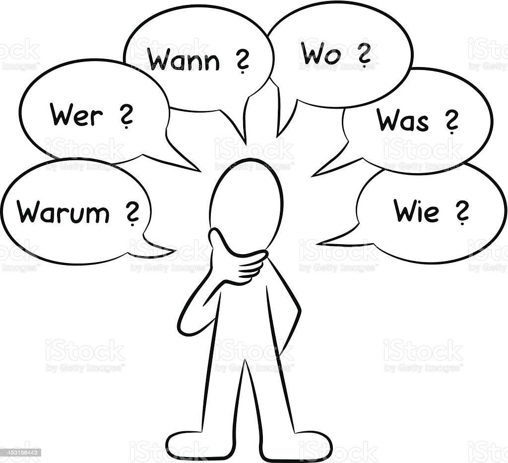 man who asks questions (in german) royalty-free stock vector art