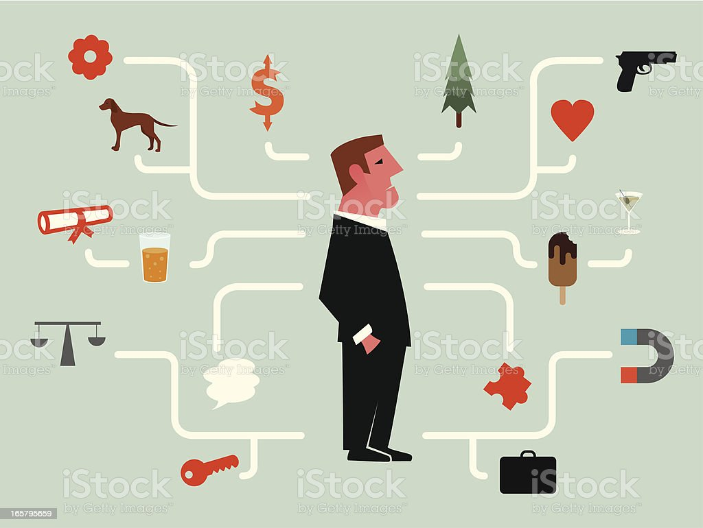 Man with a activity map royalty-free stock vector art