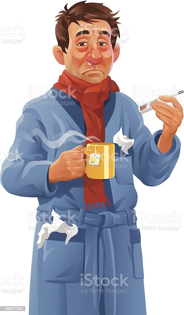 Man With a Bad Cold vector art illustration