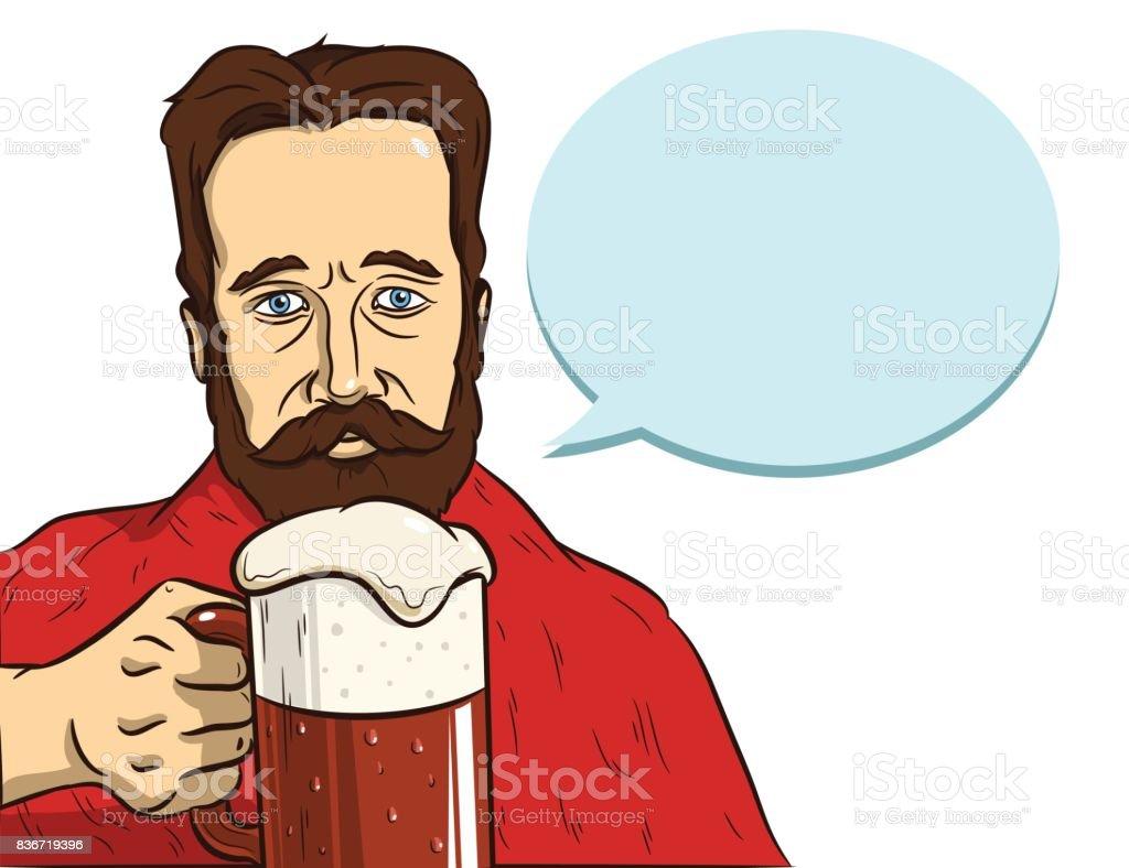 man with a beard drink beer vector art illustration