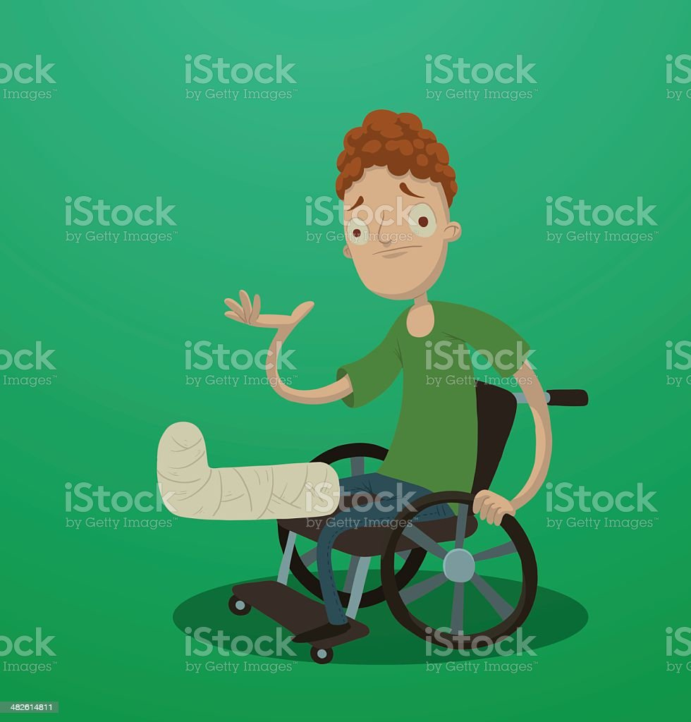Man with a broken leg sitting in the wheelchair vector art illustration
