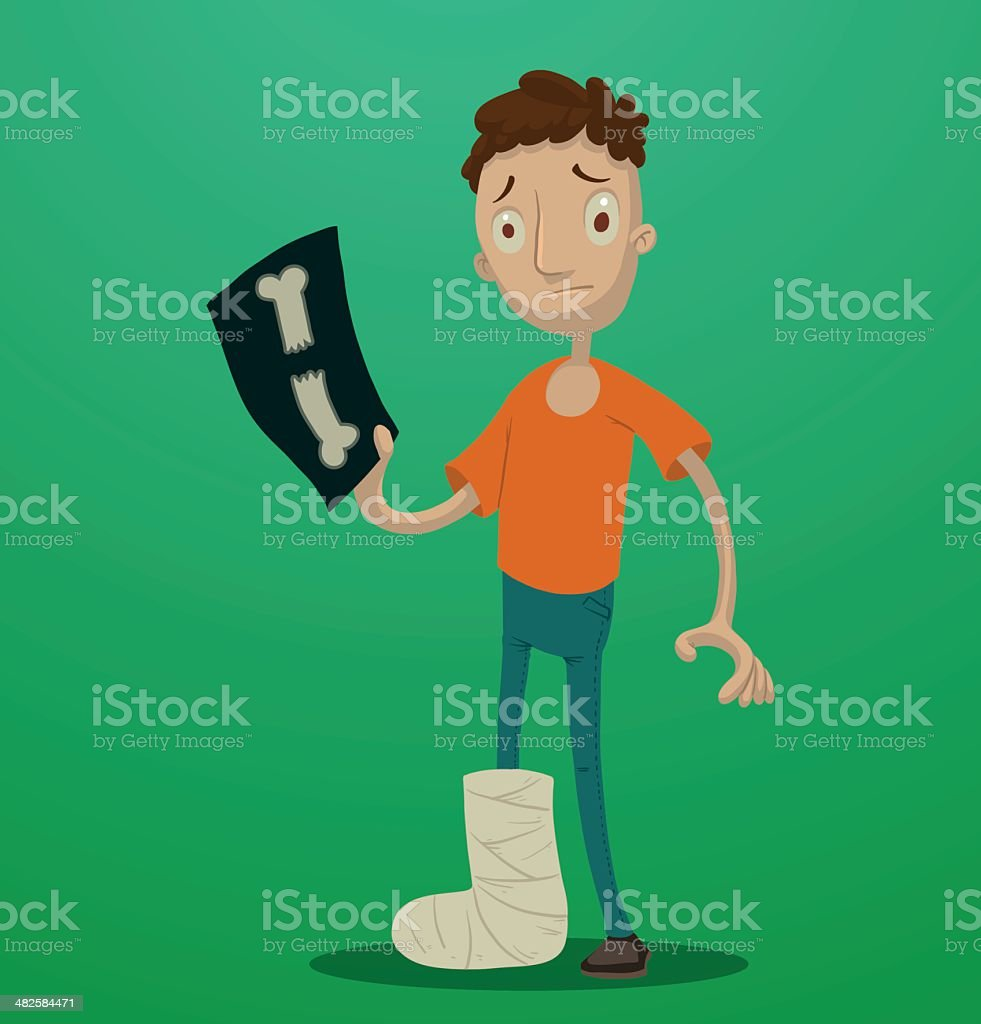 Man with a broken leg vector art illustration