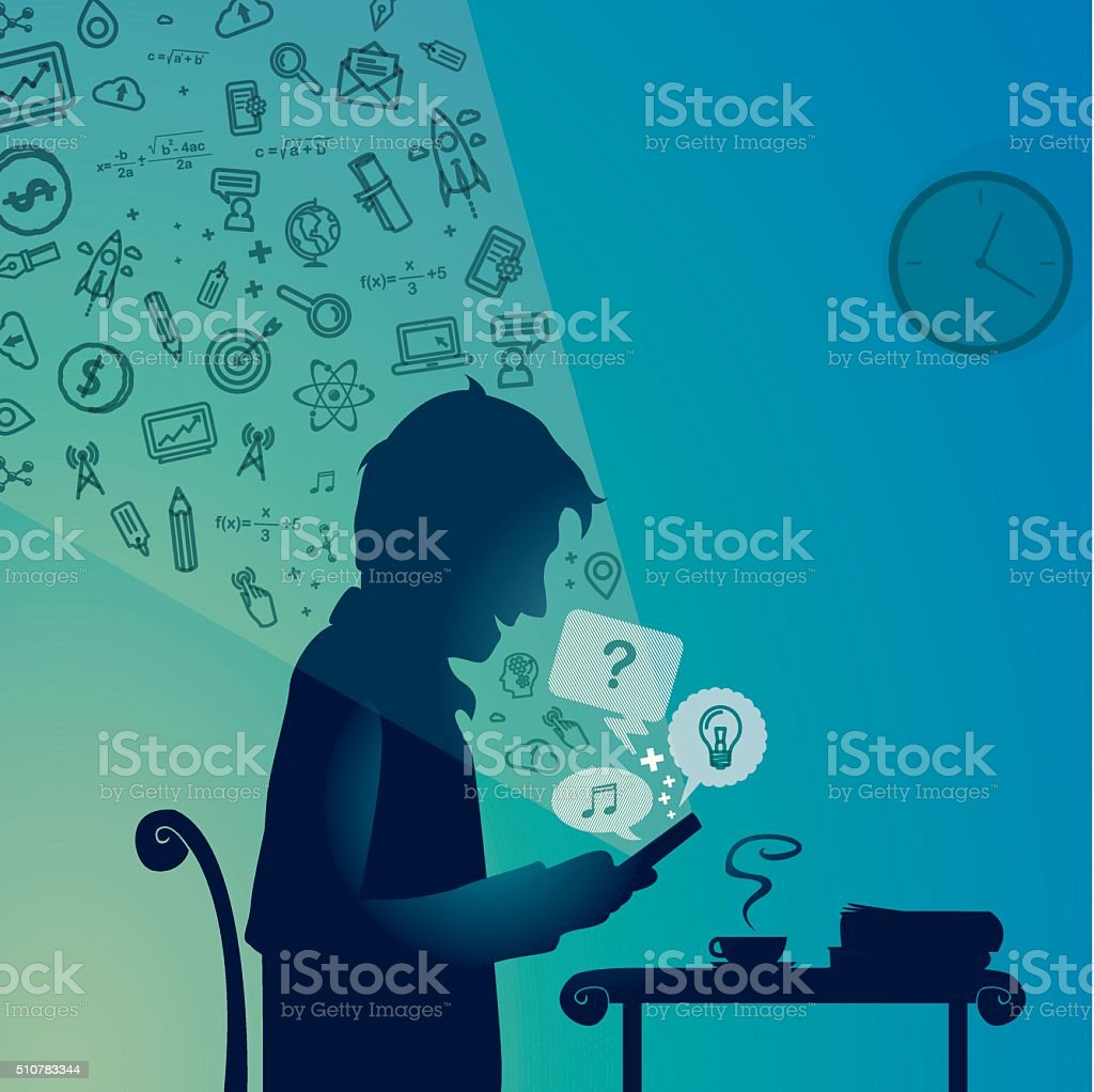 Man with a cellphone vector art illustration