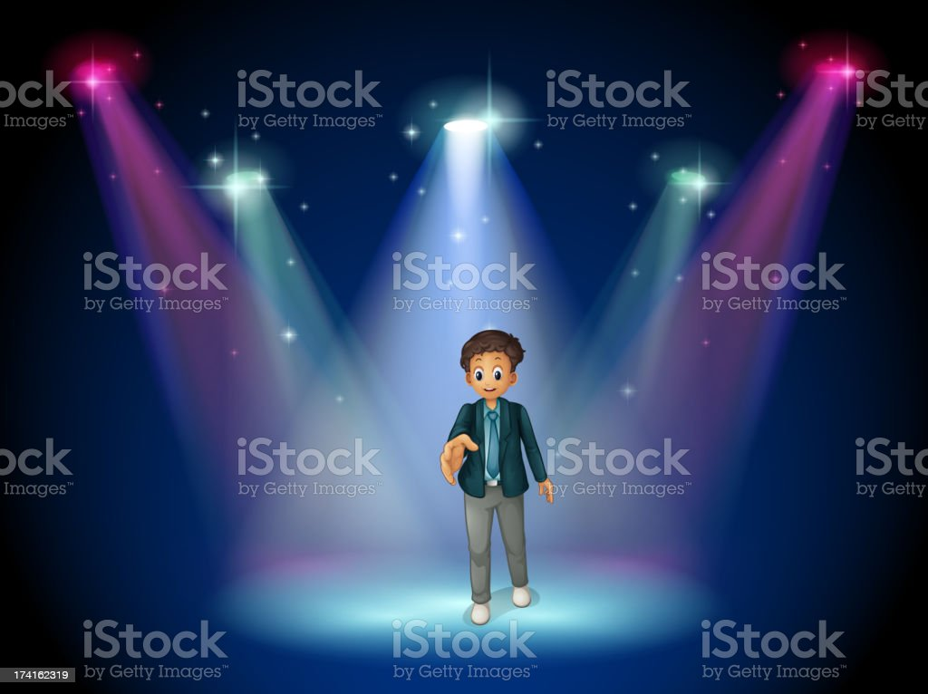 man with a formal attire at the stage royalty-free stock vector art