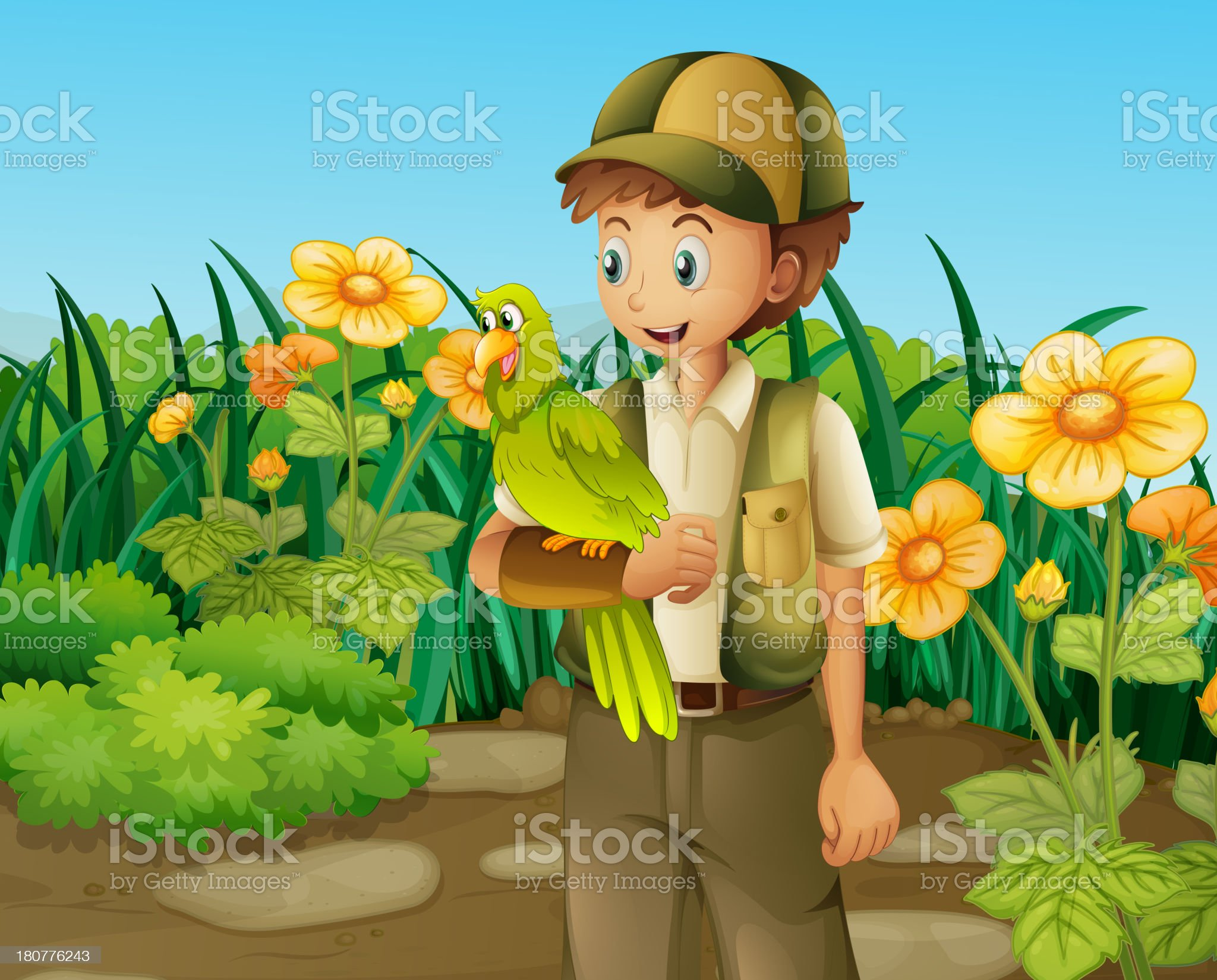 man with a green parrot near the flowers royalty-free stock vector art