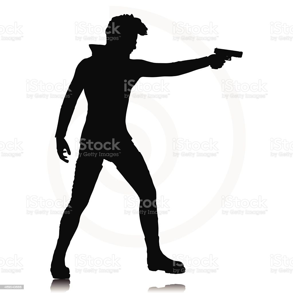 man with a gun vector art illustration