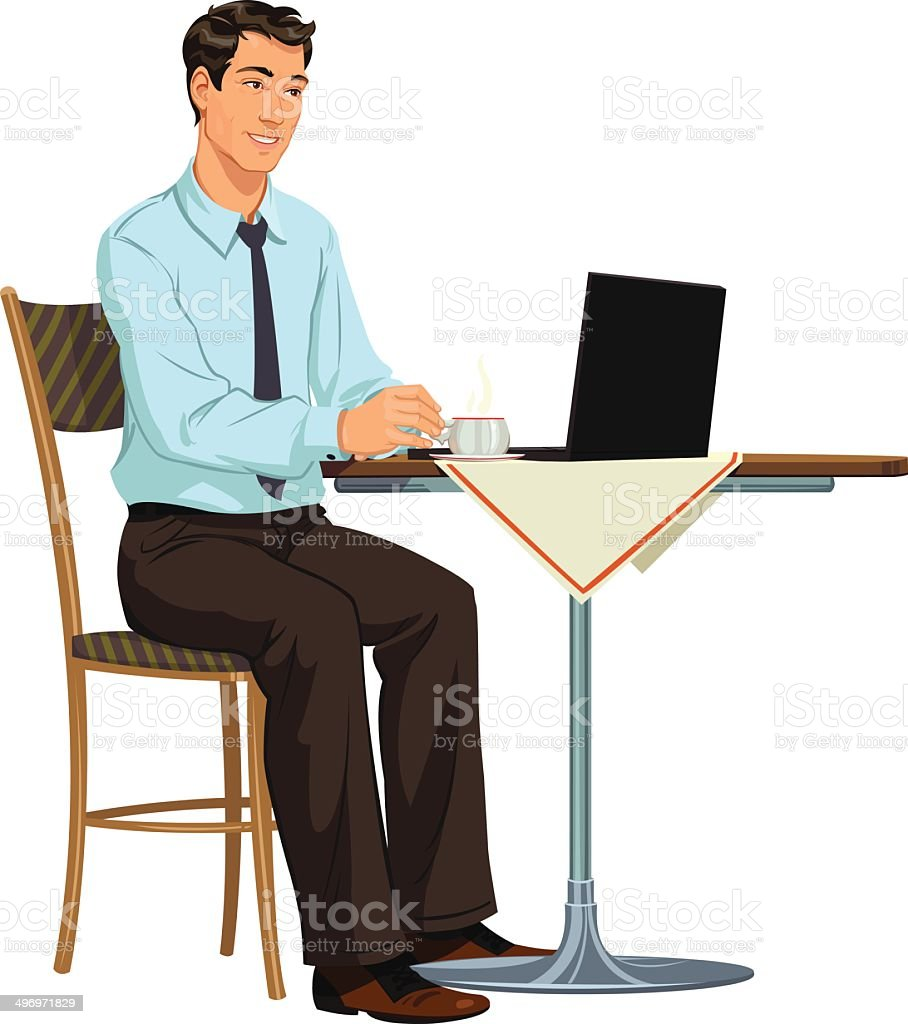 man with a laptop royalty-free stock vector art