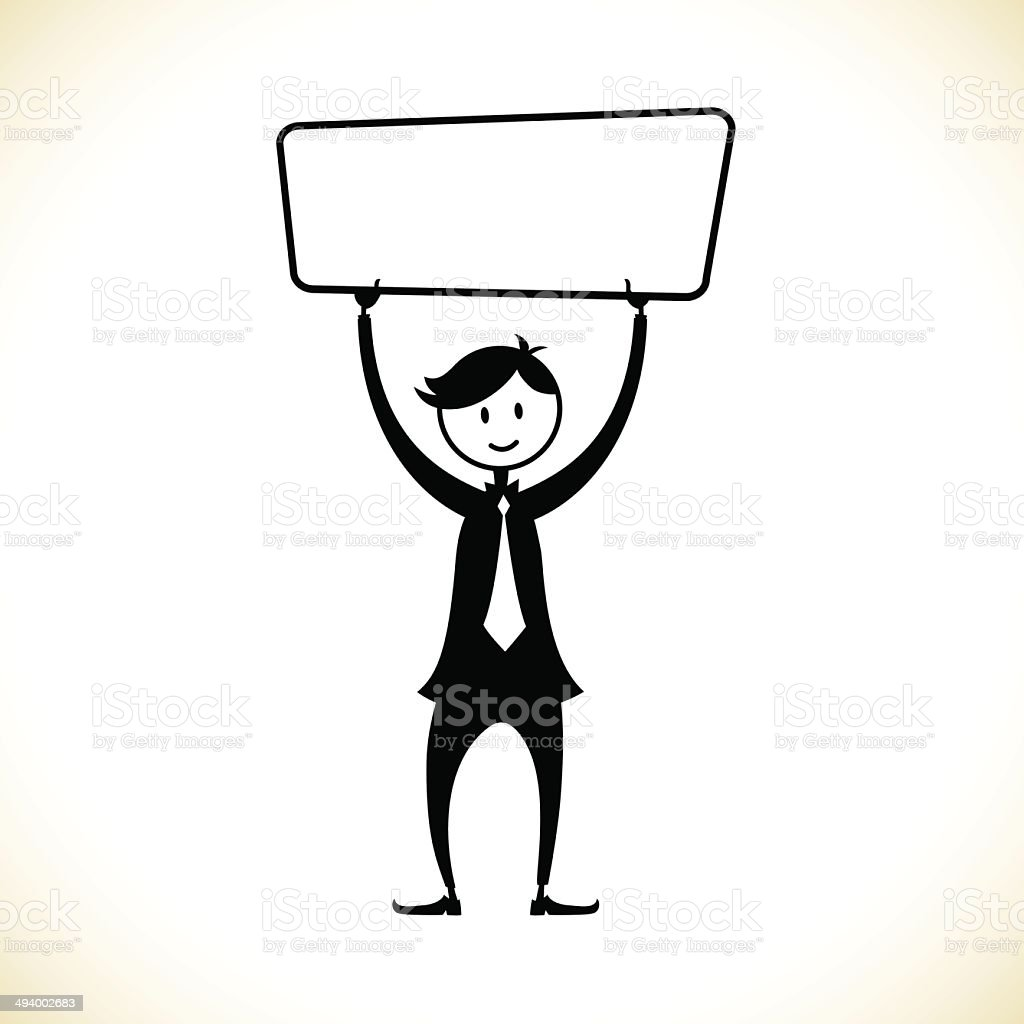 Man with a message board - Illustration royalty-free stock vector art