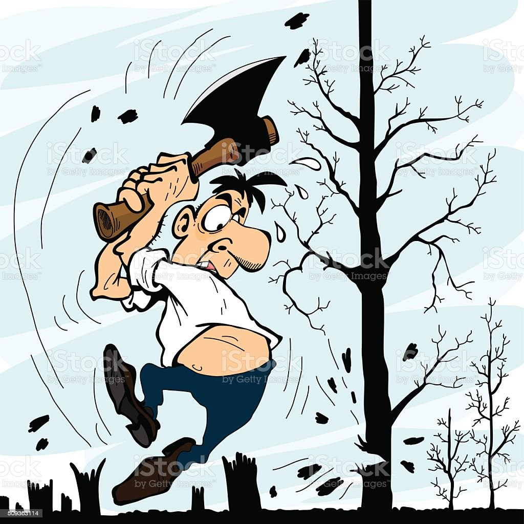 Man with an ax chopping trees vector art illustration