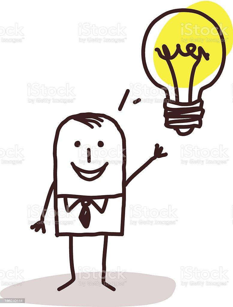 Man With An Idea Light Bulb royalty-free stock vector art